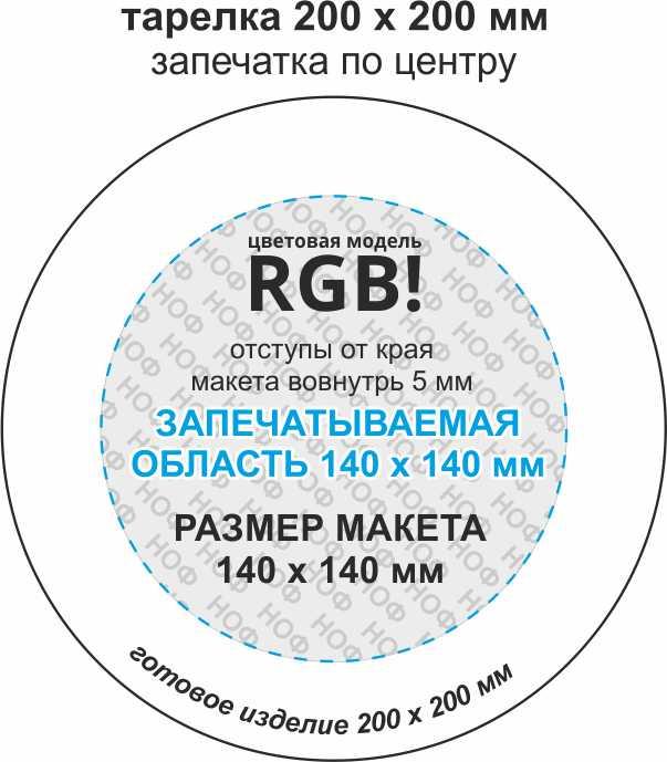 Макет для тарелки с запечаткой по центру